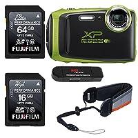 Fujifilm FinePix xp130–ライム、Fujifilm 16GB、64GB SDメモリカードとFujifilm XPシリーズFloatストラップバンドル