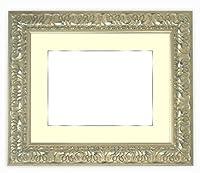 写真用額縁 246/シルバー写真全紙(560×457mm) ガラス マット付(銀色細縁付き) マット色:クリーム