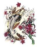 【y's partners】目立つ タトゥーシール デザイン重視 大きめサイズ リアル大判 高品質 長持ち 刺青シール ボディーシール (赤(鯉))