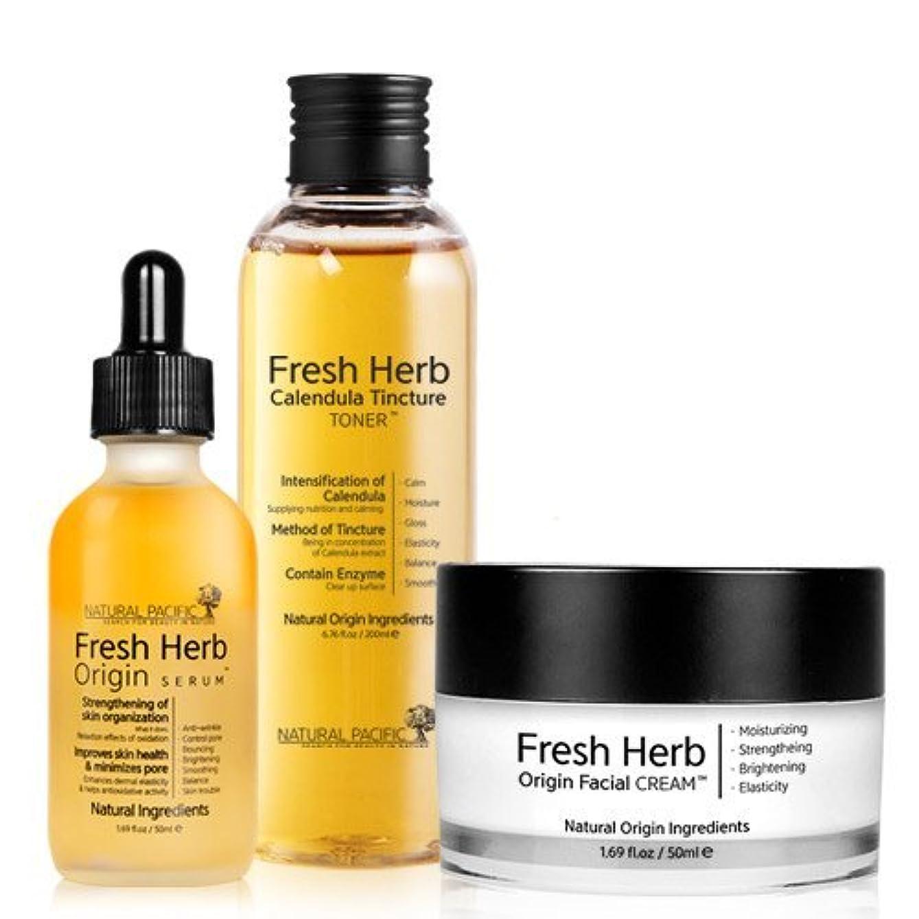 誓約生き返らせる温室[NACIFIC] ?Renewal Fresh Herb Origin SET/[ナシフィック] フレッシュ ハーブ オリジン 3種 セット (トナー+セラム+クリーム)/旧 ナチュラルパシフィック [並行輸入品]