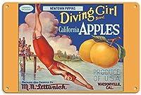 California Apples Diving Girl ティンサイン ポスター ン サイン プレート ブリキ看板 ホーム バーために