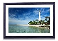 ビリトン島、インドネシア、ジャワ海、灯台、海岸、ヤシの木 - 木製の黒額縁装飾画 壁画 写真ポスター 壁の芸術 (60cmx40cm)