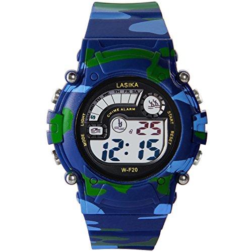 Hiwatch 腕時計 防水 デジタル表示 子供 アラーム LEDライト付き 迷彩柄 男の子用