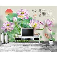 LJJLM 3d壁紙カスタム写真壁画中国蓮トンボ魚リビングルーム家の装飾3d壁壁画壁紙用壁-420X280cm