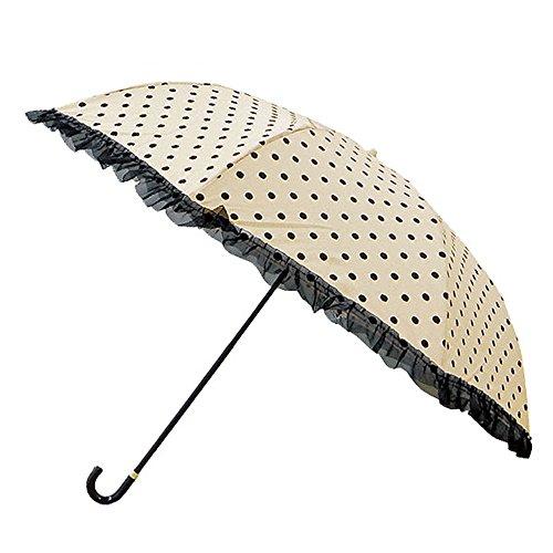 DOT×ORGANDY 折りたたみ傘 (ピンクトリック) (81074【ベージュ×ブラック】)