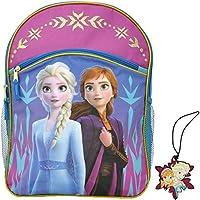 "Disney Frozen II 16"" Cargo Backpack & Luggage Name ID Tag - 2 pc Set - Elsa Anna"