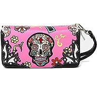 La Dearchuu Womens Clutch Wallet Sugar Skull Wristlet Purse PU Leather Zipper Wallet with Card Holder & Coin Pocket …