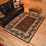 Rustic Lodge Pine Cone Open Field Area Rug 63 W x 87 L Multi 6708 [並行輸入品]