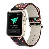 MDQ アップルウォッチのための革の腕時計バンドiWatch(38mm 42mm多くの新しいモデルは選ぶことができます)金属製アダプターと調節可能なバックルと交換ストラップ (?&?, 38mm)
