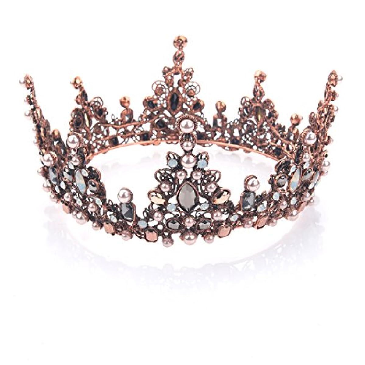 資源クランプ細部Yeanティアラ 王冠 おうかん クラウン ヘアアクセサリー ゴールド レディース ガールズ 女性 プリンセス 結婚式 ウェディング 花嫁 披露宴 パーティー (Color-04)