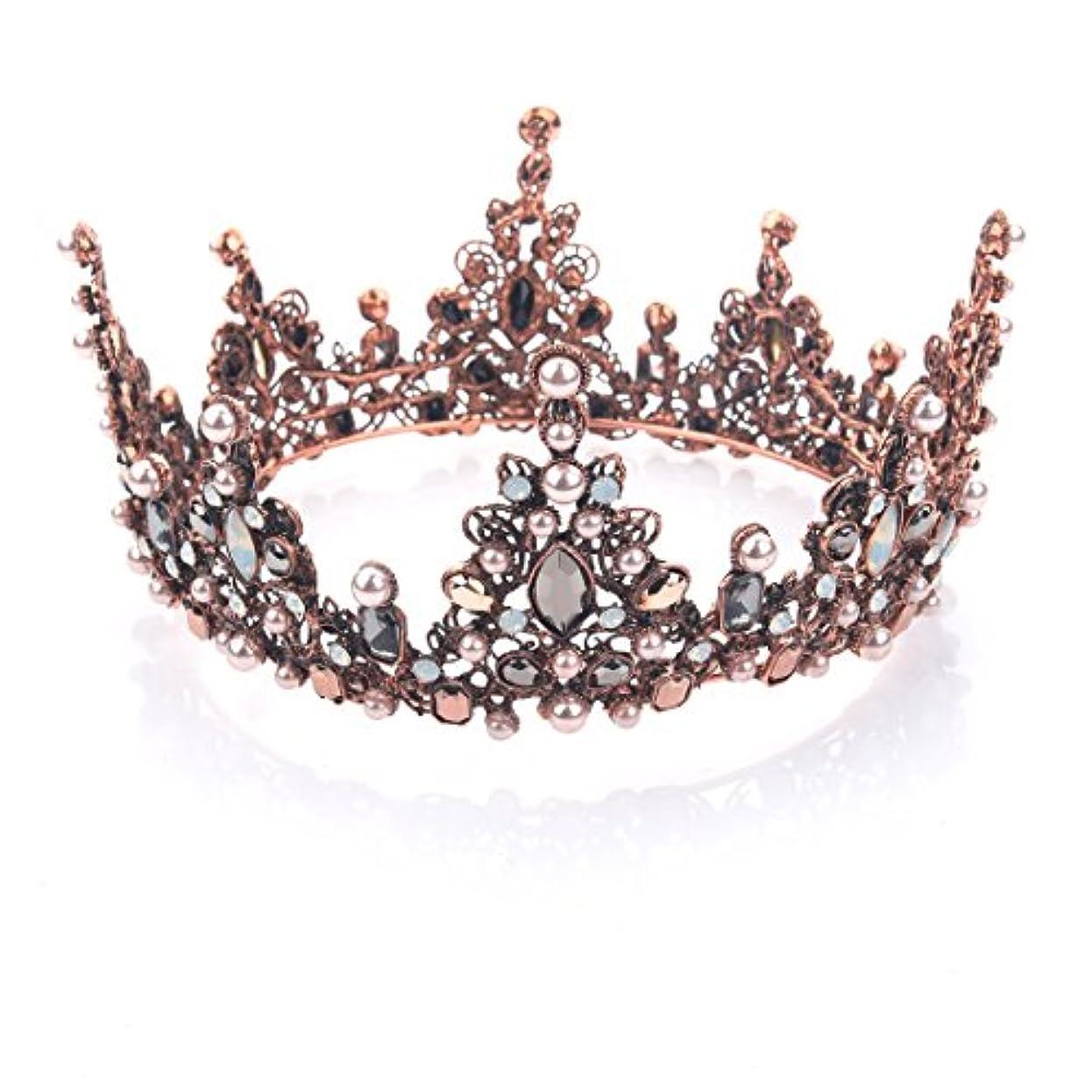 大いに型会計Yeanティアラ 王冠 おうかん クラウン ヘアアクセサリー ゴールド レディース ガールズ 女性 プリンセス 結婚式 ウェディング 花嫁 披露宴 パーティー (Color-04)