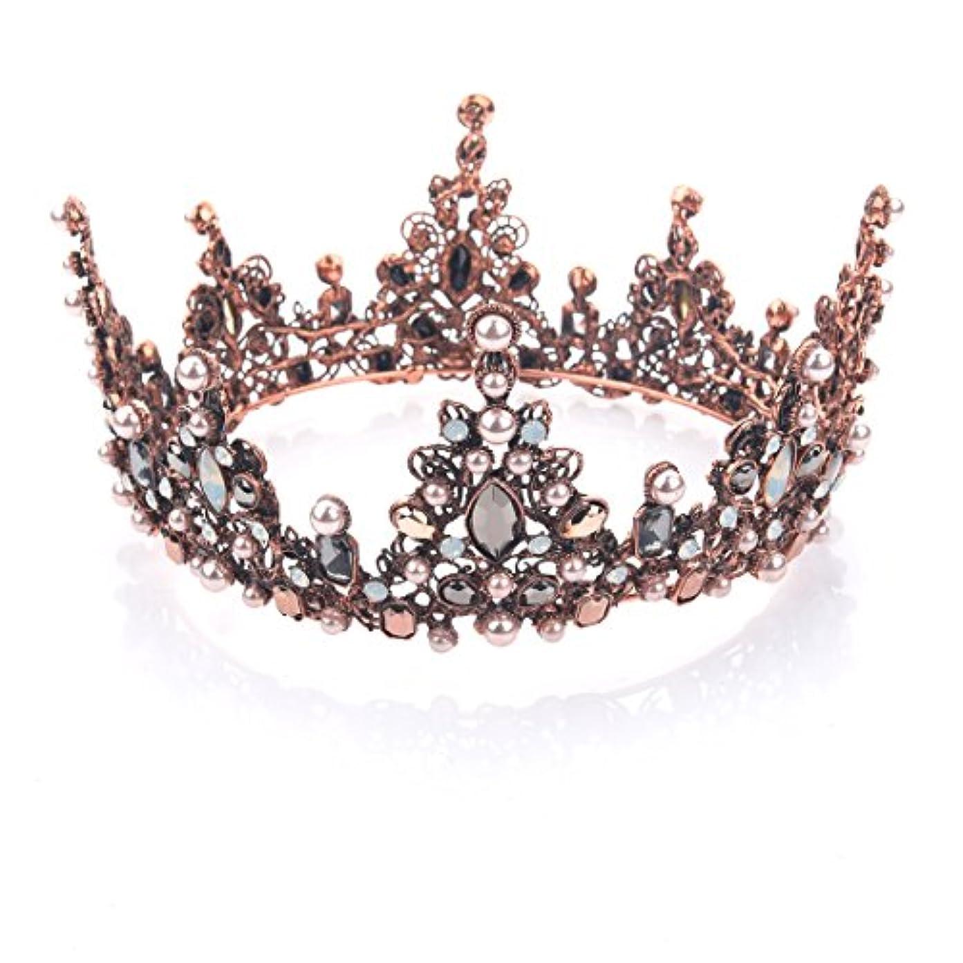 天文学ホバートたらいYeanティアラ 王冠 おうかん クラウン ヘアアクセサリー ゴールド レディース ガールズ 女性 プリンセス 結婚式 ウェディング 花嫁 披露宴 パーティー (Color-04)