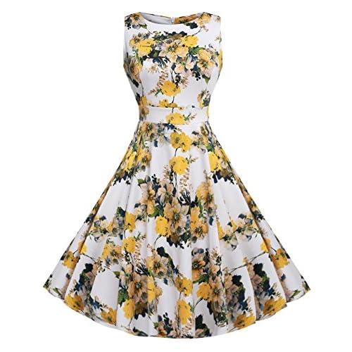 (ジアグー)Zeagoo レディース ワンピース ドレス Aライン ノースリーブ リボンベルト付 花柄 結婚式 パーティー 大きいサイズ対応 選べる29カラー