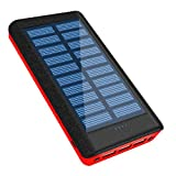 ソーラーチャージャー モバイルバッテリー 大容量 24000mah ソーラー充電器 (2019版 PSE認証済) 超大容量 充電バッテリー 携帯充電器 ソーラーパネル IPX6防水 二個LEDランプ搭載 3台同時充電 スマホ 急速充電 太陽エネルギーパネル 3出力(2.1A)と2入力(5A/2A)搭載 micro USB ポート 太陽光で充電でき iPhone / iPad / Android Galaxy Xperia 各種機種対応 地震防災 災害 旅行 アウトドアに大活躍 レッド