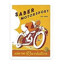 Saber Motorsportsヴィンテージ印刷18x 24 18x24