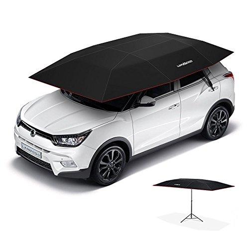 lanmodo車テントポップアップテント車、自動傘テント、もは、ビーチテントwith紫外線対策、耐水性、Proof風、雪、Fallingオブジェクトwithスタンド137.8 X 82.7インチ(3.5 m自動ブラックwithスタンド)