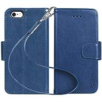 iPhone6s ケース 手帳型 iPhone6 ケース Arae スマホケース ストラップ 横置き機能 カードポケット付き アイフォン6 アイフォン6s 用 財布型 ケース カバー(ダークブルー)