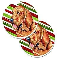Caroline 's Treasures Bloodhound Candy Cane Holidayクリスマス2カップホルダー車コースターのセットlh9241carc、2.56、マルチカラー