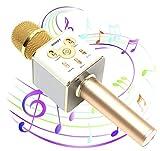 【MUUSY】 新型 スマホカラオケ 高音質 Bluetooth カラオケマイク (日本語説明書 & 1年保証付き) / ゴールド