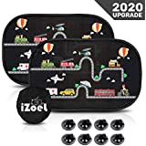 iZoeL Car Sun Shade for Baby Kids 2 Pack Static Cling Side Window Car 110GSM Rear Sunshades Universal with Storage Bag - Sun Glare and UV Rays Protection for Your Child Vehicle