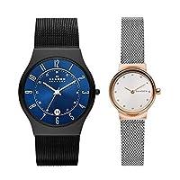 [スカーゲン]SKAGEN【ペア時計収納ケースつき!】北欧ブランド ペアウォッチ ペア時計 ガンメタル シルバー メッシュ シンプル ミニマム T233XLTMNSKW2716 腕時計 [並行輸入品]
