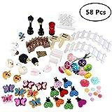 FUNCOCO 58 Pcs Miniature Garden Ornaments Kit for DIY Fairy Garden Dollhouse Decor Landscaping