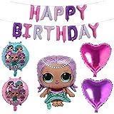 lolサプライズ 誕生日 飾り付け 人形 可愛い ピンク パープル 女の子 バルーン 風船 happy birthday ガーランド ハート 6枚セット