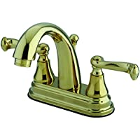 Kingston Brass KS7612FL Two Handle 4 in. Centerset Lavatory Faucet with Brass Pop-up