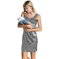 S-Comfy Women Stripe Print Sleeveless Maternity Breastfeeding and Nursing Dress
