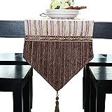 テーブルランナー、ダイニングテーブル用の綿とリネンのテーブルランナー、テレビのキャビネット、コーヒーテーブル、靴のキャビネット、ポーチ、ベッド (Color : Brown, Size : 30x180cm)