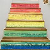 Yanqiao 階段用のステッカー カラー木目式の立体的で光煌かす壁紙 カッコイイ欧米スタイル 高品質 おしゃれ 防水または防潮18*100cm