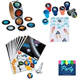 Space Party Supplies Favour Kit - Stickers, Stamps, Solar System Scene