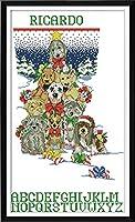 LovetheFamily 犬のクリスマスストッキング 41x66cm DIY 手作り刺繍キット 正確な図柄印刷クロスステッチ 家庭刺繍装飾品 11CT インチ当たり11個の小さな格子 刺しゅうキット フレームがない ホーム オフィス装飾 手芸 手工芸 キット 芸術 工芸 DIY 手作り 装飾品