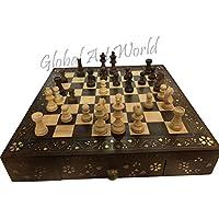 グローバルアートWorldロイヤルIndian Shahiアンティーク手彫り木製チェスセットヴィンテージPiecesボード木製チェスボードCB 01
