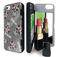 iPhone8 iPhone7 iPhone6 iPhone6s ケース ミラー 付き ガイコツ スケルトン グレー カードケース スカル ドクロ アイフォン8 アイフォン7 アイフォン6 アイフォン6s カバー スカル柄 鏡付き iPhoneケース