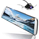 AWESAFE 10 Inch Mirror Dash Cam 1080P Front and Rear Dual Lens,Rear Mirror Camera with 24 Hours Parking Monitor and G Sensor