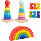 TOYANDONA 1Set Wooden Rainbow Geometric Stacker Toys Villain Building Blocks Wood Stacking Rings Rainbow Stacker Toddlers Kid
