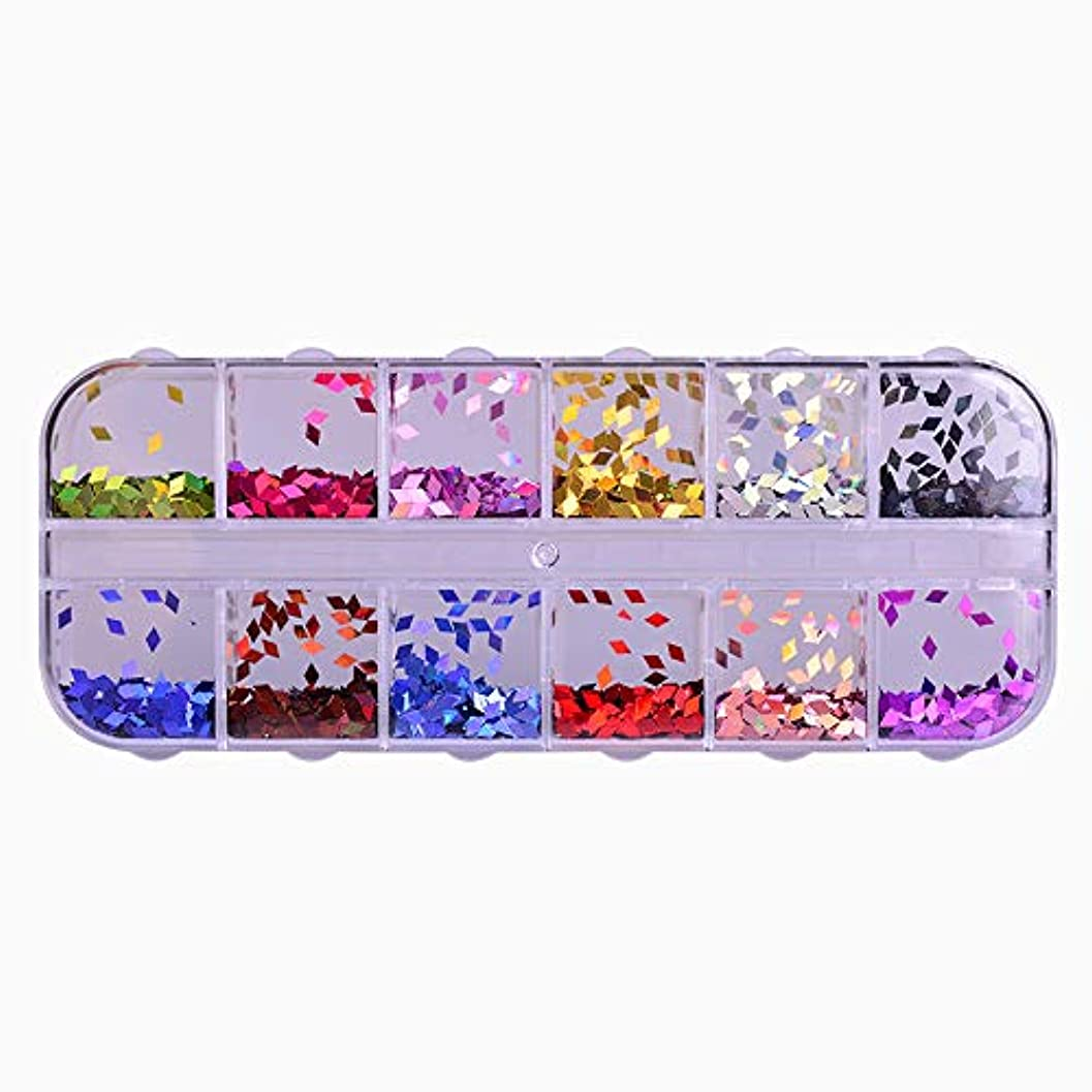 木製充実滑り台12 Color Rhombus Laser Sequin Nail Art Sparkly Slice Paillette 3D Salon Decor Accessory for DIY Glitter Flake...