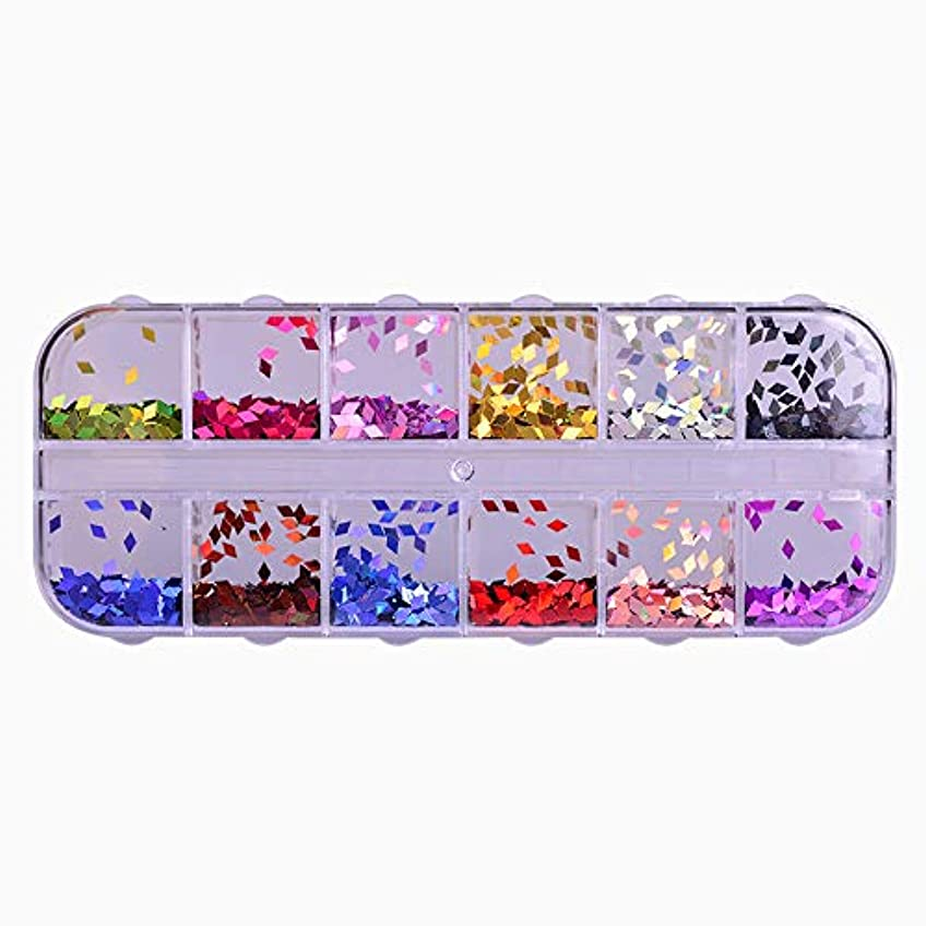 小麦粉鍔教科書12 Color Rhombus Laser Sequin Nail Art Sparkly Slice Paillette 3D Salon Decor Accessory for DIY Glitter Flake...