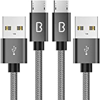 【2本セット】Beikell micro usb ケーブル 高耐久編組ナイロン マイクロusbケーブル 急速充電 高速データ転送 Android充電器対応 USBケーブル (2.0m×2)