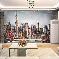 Wuyyii カスタム壁紙手描きの油絵市建物の背景画像壁紙用リビングルーム-120X100Cm