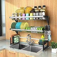 食器乾燥ラック シンク上ディスプレイスタンド 水切り ステンレススチール キッチン用品 収納棚 キッチン用品 ストレージラックステンレススチール (Size : 82cm)