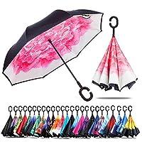 小さなボール 逆さ傘 長傘 さかさま傘 逆折り式傘 逆転傘 UVカット 晴雨兼用 手離れC型手元 耐風傘 撥水加工 ビジネス用車用 自立傘 二重傘 (Pink)