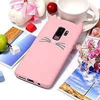 ソフトケース Samsung Galaxy S9 Plus用猫ひげ模様のシリコン保護ケース 携帯電話ケース (色 : ピンク)