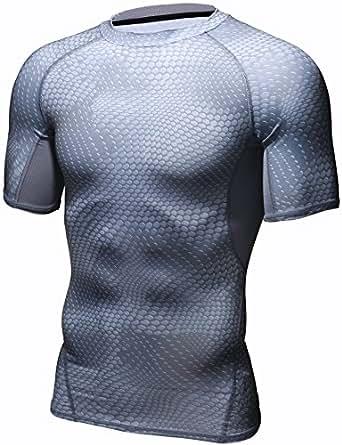 HONENNA 男性用機能性肌着 着圧スポーツインナー 吸汗速乾 コンプレッションウェア 半袖 メンズ 加圧Tシャツ 姿勢矯正 猫背解消 (M, グレー)