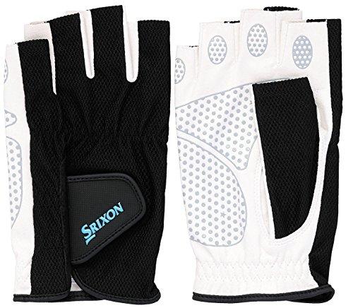 SRIXO #SRIXON(スリクソン) テニス メンズ用 シリコンプリント グローブ ハーフタイプ (両手セット) SGG2590 ブラック