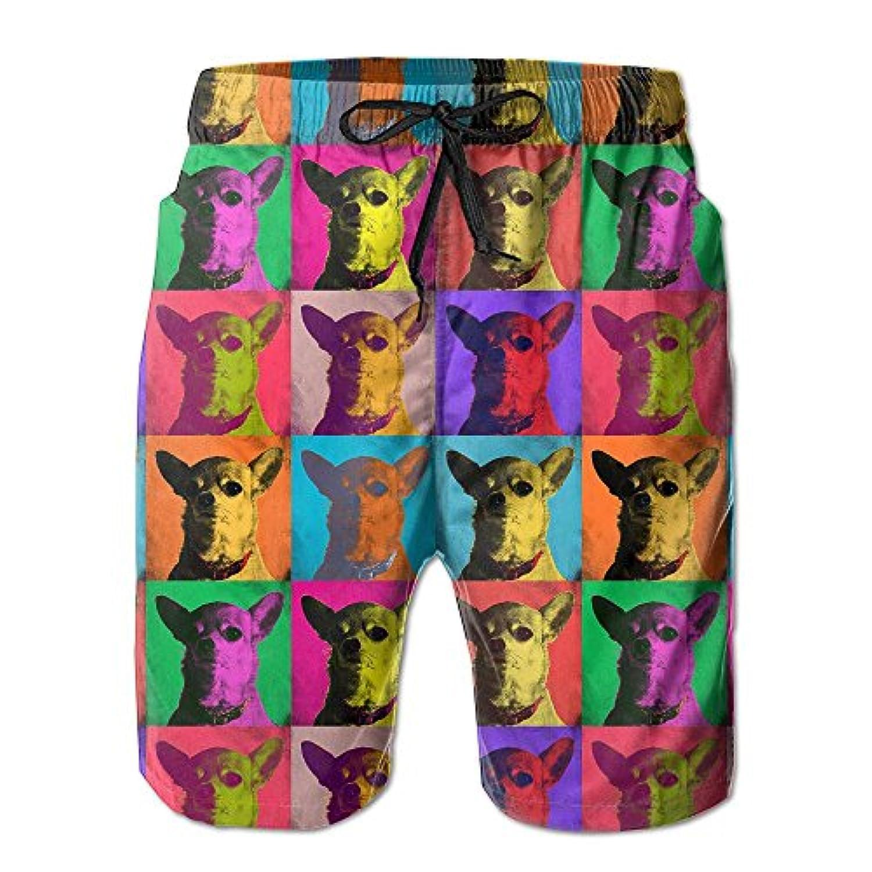 カラフルな犬 メンズ サーフパンツ 水陸両用 水着 海パン ビーチパンツ 短パン ショーツ ショートパンツ 大きいサイズ ハワイ風 アロハ 大人気 おしゃれ 通気 速乾