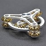 ハンドスピナー 指スピナー ストレス解消 齿轮 真鍮製 高速回転 Hand spinner Fidget Spinner Toy EDC 子供大人に適用 (ホワイト 2)