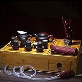 ティーポット 中国茶器 茶盤茶杯 宜興紫砂急須 フェイク古壺セット (黑泥)