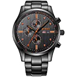 BUREIメンズ多機能クロノグラフブラックステンレススチールWrist Watches with Date Dayカレンダー